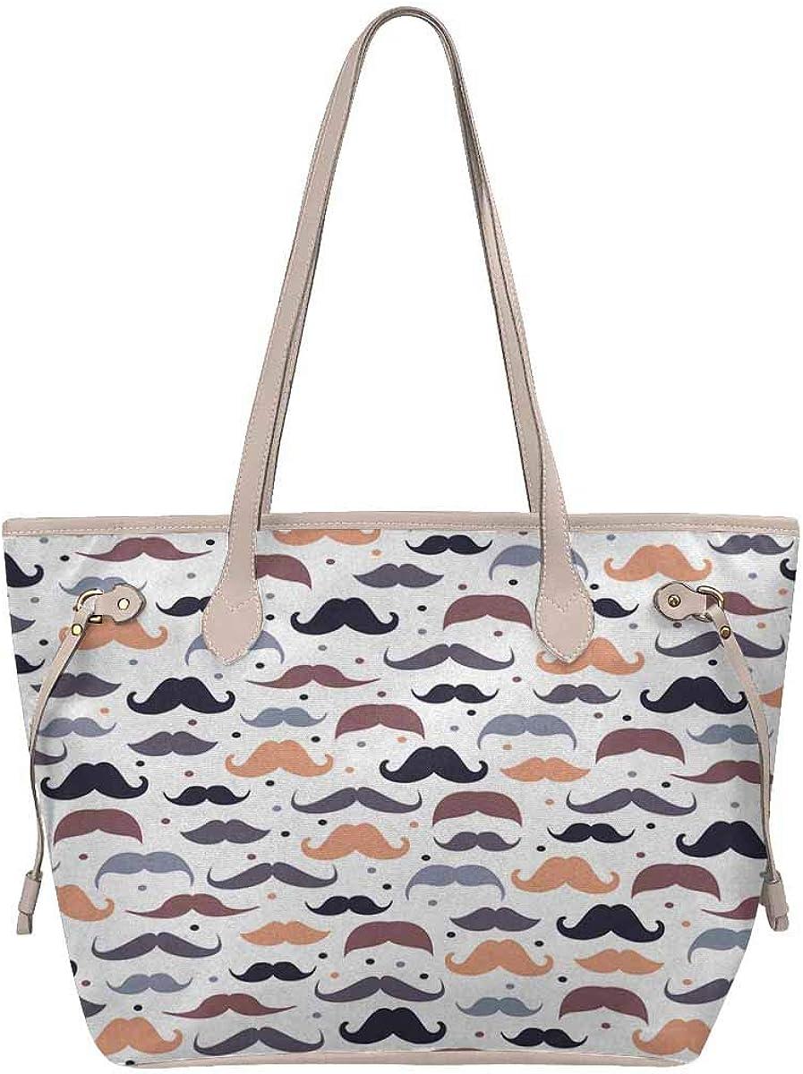 InterestPrint Womens Handbags Ladies Purses Shoulder Bags Tote Bag Mustache Pattern in Vintage Style