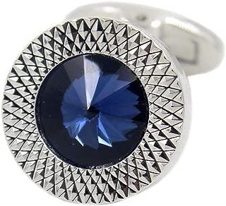 Sapphire Blue Crystal Gem in Silver Plate Men Gift Cufflinks