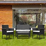 BOJU 4 Piece Rattan Garden Dining Furniture Chairs and Table Set of 4 Patio Coffee Shop Outdoor Yard Restaurant Including 2 Armchairs and 2 Seater Sofa Glass Top Table Conservatory (Black)