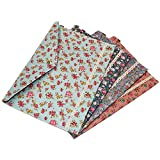 Gossipboy 4pcs/1Set de portable Floral A4fichiers enveloppe Tissu Sac de document papier poches Lettre fichier avec Snap Bouton de fermeture