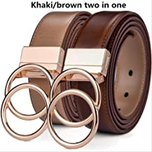"MDZZ Belt Unisex Belt Leather 1.3"" Reversible 2 In 1 Rotated 2 Rings Gold Buckle Belts For Women And Men 115cm (Waist 100cm) oo-Light Br Khaki"