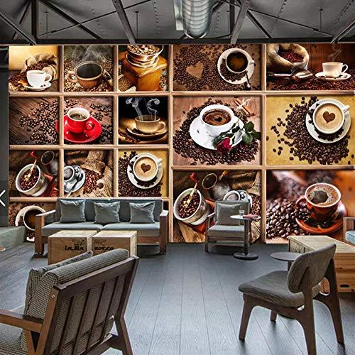 3D Fototapeten Benutzerdefinierte Wandbild Kaffeebohnen Kaffeetasse 3D Fototapete Cafe Restaurant Wohnzimmer Küche Dekorative Tapete