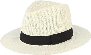 GEMVIE Fedora Panama Hat Black Banded Wide Brim Summer Straw Cap