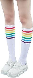 Mujeres de moda casual color sólido Muslo Calcetines altos Sobre la rodilla Rainbow Stripe Girls Fútbol Calcetines deportivos