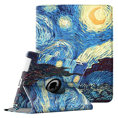 FINTIE beschermhoes - 360° draaibaar voor iPad 2, iPad 3, iPad 4 met standaard functie Smart Cover Case met Sleep/Wake functie voor Apple iPad 2, iPad 3 en iPad 4 met Retina-scherm, Multicolore (Z-Starry Night)