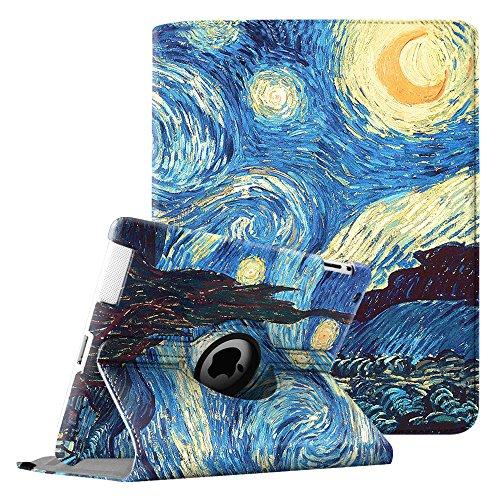 FINTIE beschermhoes - 360° draaibaar voor iPad 2, iPad 3, iPad 4 met standaard functie Smart Cover Case met Sleep/Wake functie voor Apple iPad 2, iPad 3 en iPad 4 met Retina-scherm, Multicolore (Z-Starry Night)