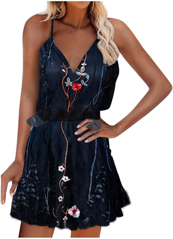 Sexy Beach Dresses Women Summer, Women's Sleeveless Mini Dresses Floral Boho Dress Empire Waist Summer Casual Short Dresses