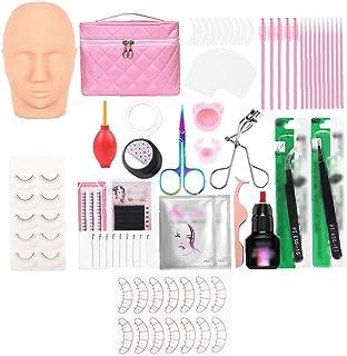 Eyelashes Extension Kit, Wimper Extenstion Training Set met mannequin hoofd en cosmetica opbergtas, 24 stuks