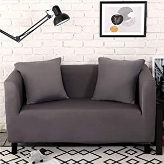 Lamberia Sofa Slipcovers Stretch Couch Cover for Couches and Loveseats with Two Pillow Case (Deep Grey, Loveseat)