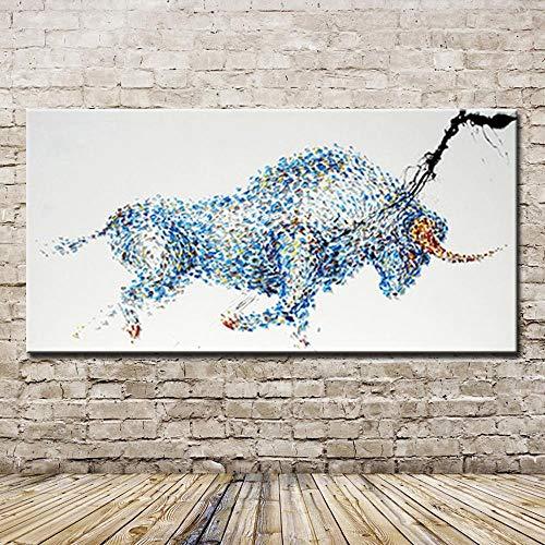 YHXIAOBAOZI Handgemaltes Ölgemälde Auf Leinwand 100% Handgemalt Blau Starker Stier Painting Ölgemälde Auf Leinwand Abstract Handgefertigte Abstrakte Stierbilder Für Büro-Deko 40X80Cm