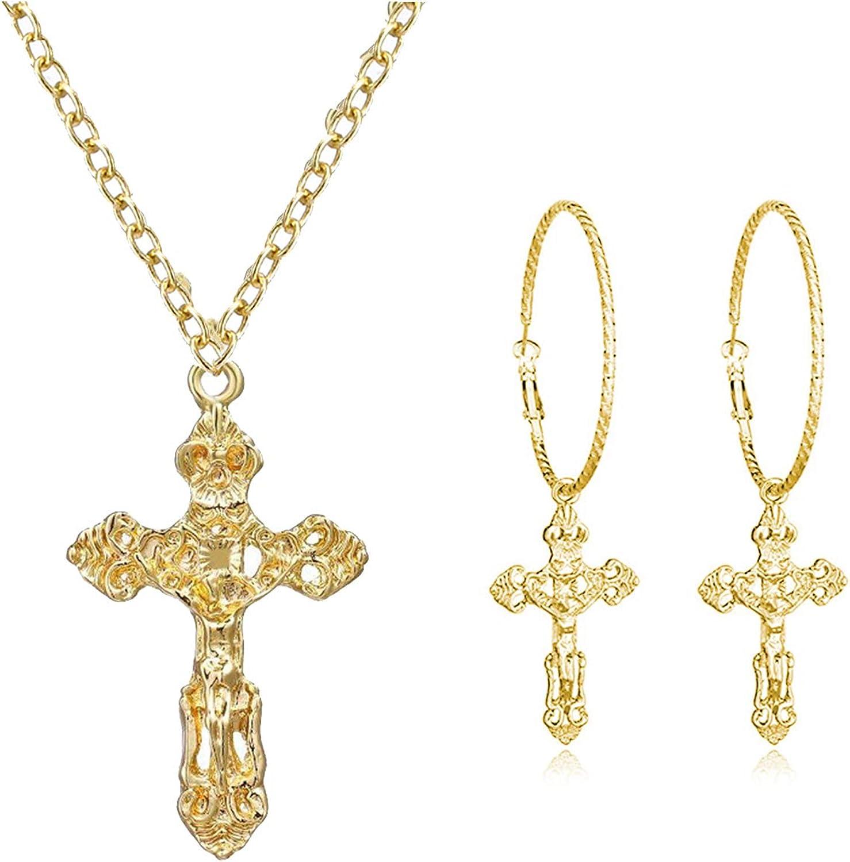 choice of all Cross Dangle Hoop Earrings - Cross with Hoop Charm Tassel Dangle Earrings