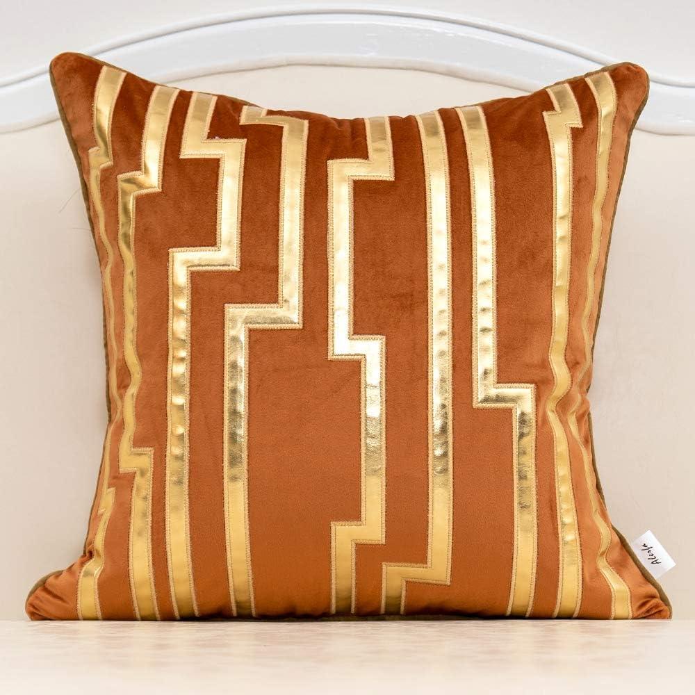 Alerfa Genuine 18 x Inches Orange Oklahoma City Mall Striped Leather Geometric Gold Cush