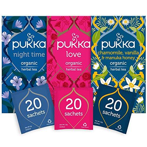 Pukka Herbs Calming Tea Bundle – Love, Night Time and Chamomile, Vanilla and Manuka Honey