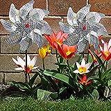 Hedear Molinillo de Plata Mylar, molinillos repelentes de pájaros Ruedas de alfiler Brillantes Reflectantes Disuasor de pájaros para jardín Patio de césped
