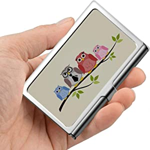 Professional Metal Business Card Owl Family Sitting On Branch Holder Pocket Business Card Case Slim Business Card Carrier Business Card Holders Wal