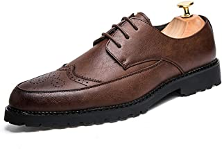 Dongxiong Men's Business Oxford casual fashion British style carving lace up Brogue shoes (Color : Brown, Size : 40 EU)