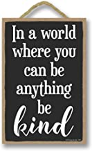 Honey Dew Gifts Home Decor, in a World Where You Can be Anything be Kind 7 inch by 10.5 inch Hanging Wood Sign, Motivational Wall Art