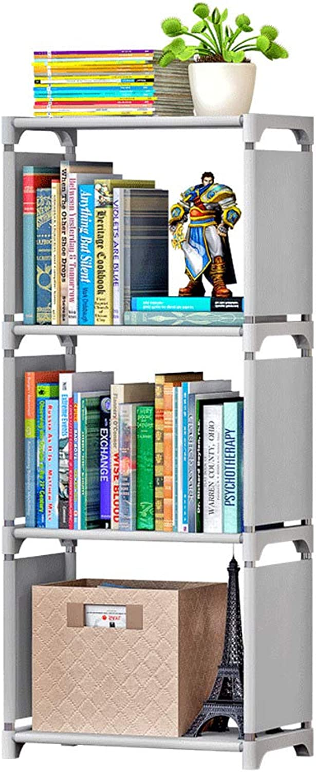 DIY Bookcase Display Storage Shelf Grey Step Rack Fabric for Clothes, shoes, Toys and Books-L42W26H94CM (color   2)