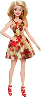 Barbie Christmas Holiday 2018 Doll, Poinsettias and Gold Dress, 11.5