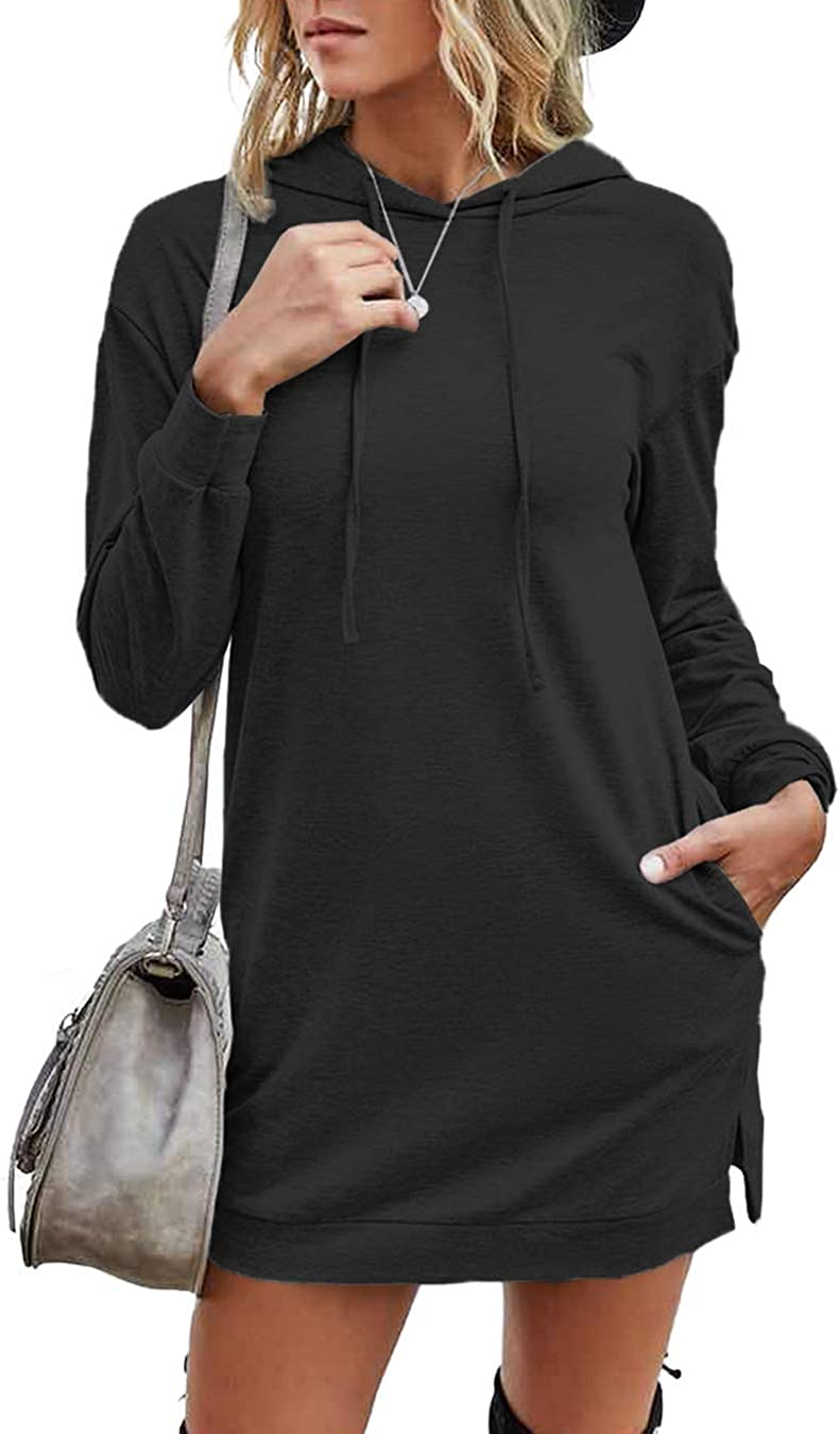 T1FE 1SFE Womens Long-Sleeve Sweatshirt Dress Casual Long Pullover Hoodie with Pockets