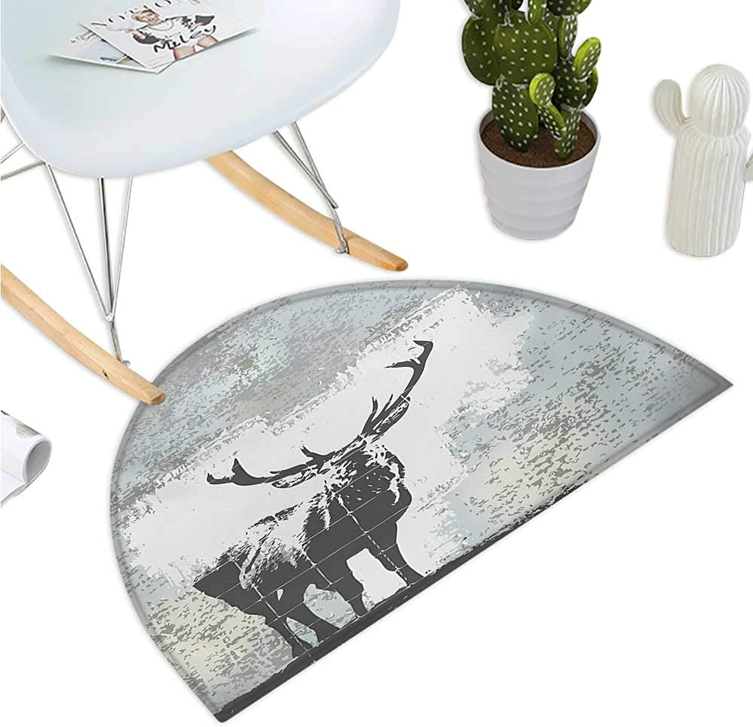 Antlers Semicircle Doormat Standing Stag Silhouette Grunge Style Background Shadow Monochromic Illustration Halfmoon doormats H 39.3  xD 59  Grey Black