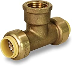 Pushlock UPCTF34 Tee x Female Pipe Fittings Push to Connect Pex Copper, CPVC, 3/4 Inch, Brass, 3/4