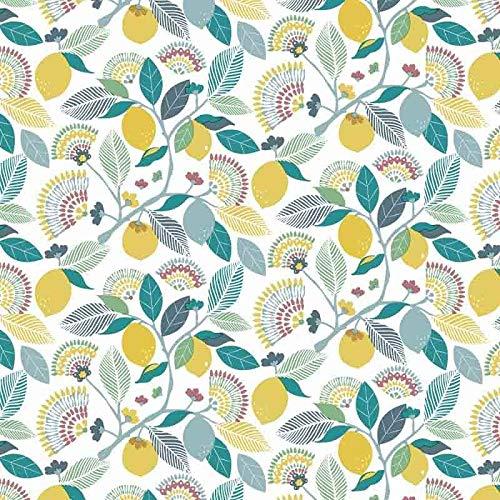 Wachstuch Tischdecke abwaschbar Gartentischdecke Meterware Zitronen Blätter Blau Gelb Türkis ÖkoTex Fantastik 8096-1 (180 x 140 cm)
