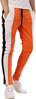 JD Apparel Men's Color Block Track Pants with Stripe with Zip Bottom