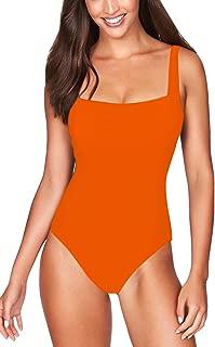 Pink Queen Women's Classic Square Neck Strap Pad One-Piece Swimsuit Monokini