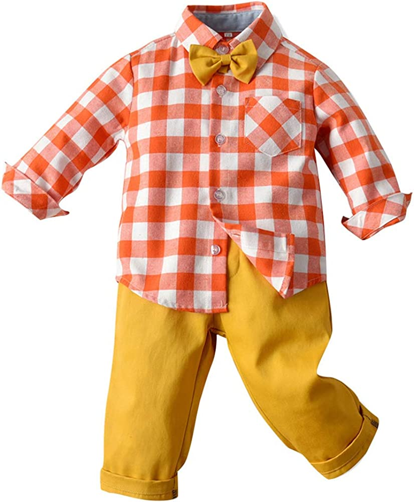 Baby Boys Overalls Toddler Plaids Shirt Pants Bow Tie Outfits Suits Clothes Pants Set