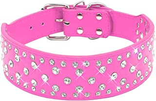 Didog 2 inch Width Wide Dog Collar with Rhinestone Studded Fit Medium Large Dogs for Festival Dress Up