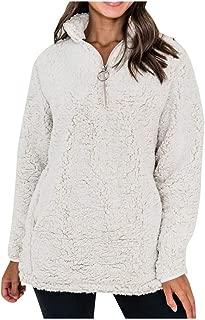 Quealent Hoodie for Women Pullover,Women's Oversized Sherpa Pullover Hoodie with Pockets 1/4 Zip Sweatshirt