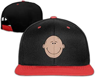 Cartoon Bold Smile Head Snapback Adjustable Baseball Unisex Cap White