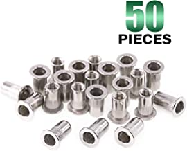 Keadic 50Pcs M5 Stainless Steel Metric Rivet Nut Flat Head Threaded Insert Nutsert Kit - M5