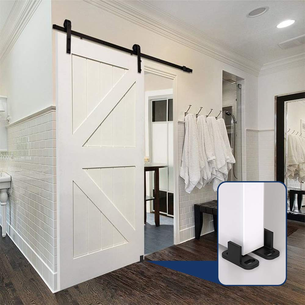 Hahaemall nuevo diseño Bottom Stay guía de pared para puerta corrediza de granero Hardware Accesorios Negro Guía de suelo con tornillos para puerta de madera (1 pc): Amazon.es: Bricolaje y herramientas