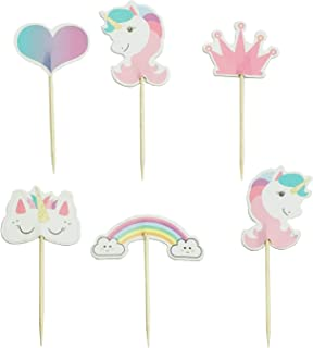 PartyCake Unicorn Cupcake Toppers Rainbow Heart Crown Cake Toppers Themed Party Decorative 24pcs Pink