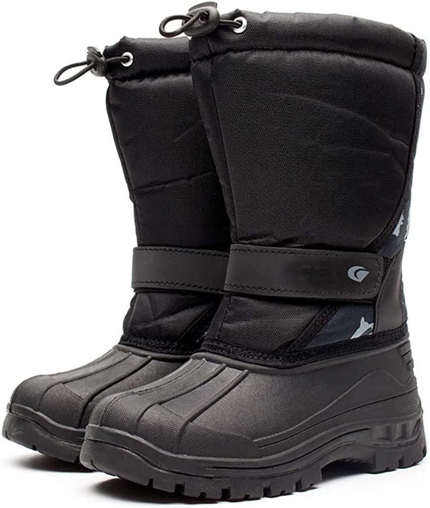 YUBUKE Kid Waterproof Snow Boot Winter Warm Fur Lined Rain Booties Outdoor Shoes