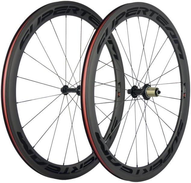 Rare Superteam 700c Full Carbon 50mm Very popular! 3k Clincher Wheelset with