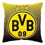 Borussia Dortmund BVB Kissen mit Emblem, Polyester, Schwarz/Gelb, 40 x 40 x 5 cm