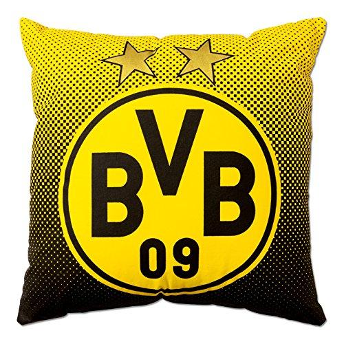 Borussia Dortmund, BVB-Kissen mit Emblem, Schwarz / Gelb, 40x40cm