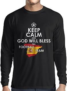 lepni.me Long Sleeve t Shirt Men Keep Calm and God Will Bless The Spanish Football Team
