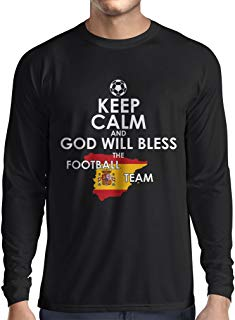 lepni.me Long Sleeve t Shirt Men Keep Calm and God Will Bless The Spanish Football Team