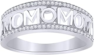 Wishrocks Round Cut White Diamond MOM Band Ring in 14K Gold Over Sterling Silver for Mothers Day's Special