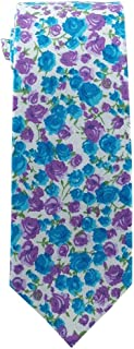 Children's Tie (for ages 8-14 years old) Floral Tie Cotton White with Blue and Purple Floral Tie