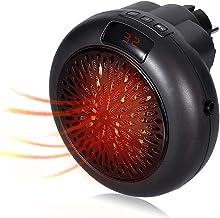 Covok - Mini calefactor para soplador con termostato, pequeño calentador portátil eléctrico de 900 W, protección contra sobrecalentamiento, calefactor eléctrico, redondo, negro 900 W Negro