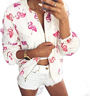 Howely Women Printing Lightweight Fashional Folding Sleeve Bomber Jackets