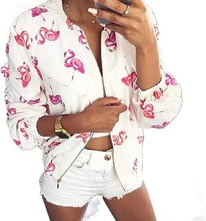 Mogogo Women's Light Weight Full Zip Pocket Ruched Sleeve Bomber Jackets