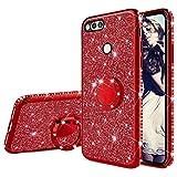 Misstars Glitzer Hülle für Huawei Honor 7X Rot, Bling Strass Diamant Weiche TPU Silikon Handyhülle Anti-Rutsch Kratzfest Schutzhülle mit 360 Grad Ring Ständer für Huawei Honor 7X
