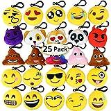 Dreampark Emoji Keychain Mini Cute Plush Pillows, Key Chain Decorations, Kids Party Supplies Favours, 5.1cm Set of 25