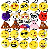 Dreampark Emotion Keychain Mini Cute Plush Pillows, Birthday Party Supplies Party Favors for Kids, Carnival Prizes for Kids Shool Classroom Rewards 2' Set of 25